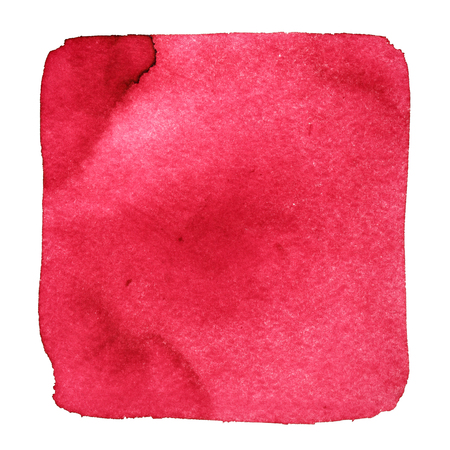 Red wry watercolor square with stains. Abstract element for your design