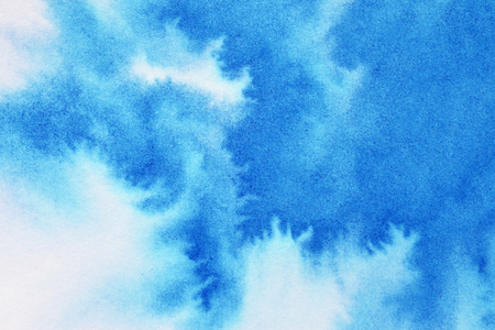 Vivid blue watercolor background with paper texture Stock Photo