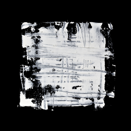 abstract paintings: Grunge white square on the black background