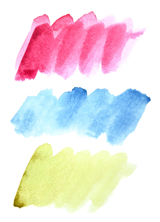 Set of watercolor doodle brush strokes (Red, blue, green) Stock Photo