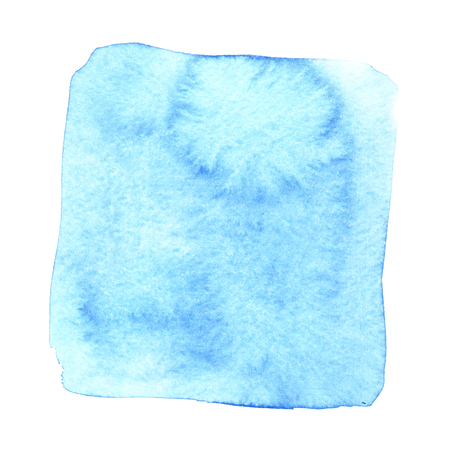 Blue wry watercolor square with stains. Abstract element for your design Stock Photo