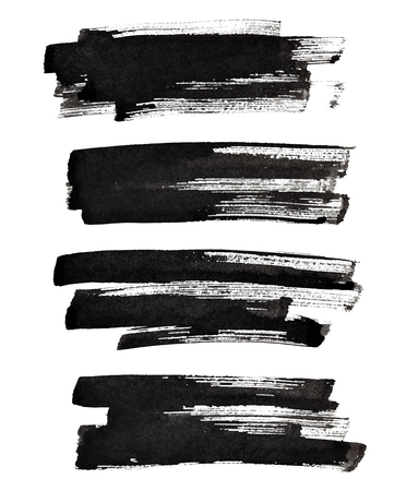 brush paint: Set of textured black brush strokes isolated on the white background
