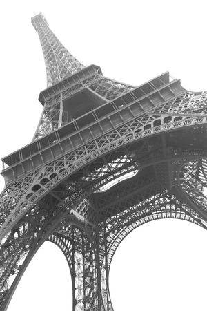 The Eiffel tower in Paris isolated on the white background. Black and white image