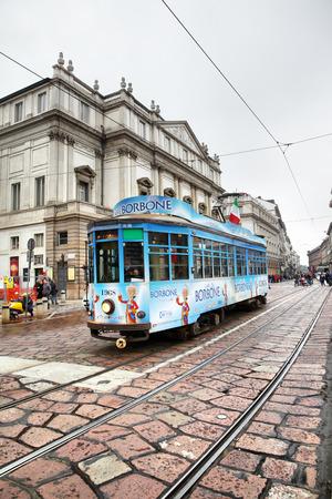 Milan, Italy - October 15, 2016: Vintage tram in front of La Scala theater in Milan