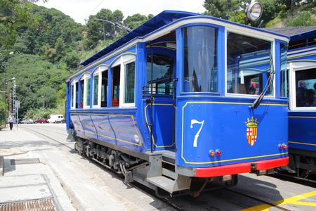 Barcelona, Spain - June 12, 2011: Vintage blue tram in Barcelona
