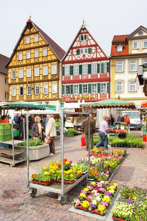 Bad Mergentheim, Germany - April 23, 2013: View of marketplace of Bad Mergentheim town in Germany Editorial
