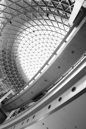 futuristic interior: Geometric ceiling - abstract architectural background. Black and white image