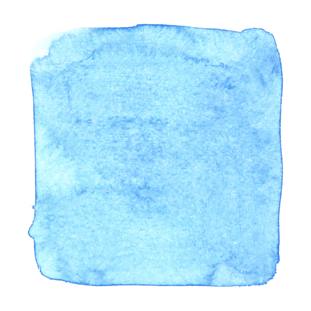 Blue uneven watercolor square isolated over the white background