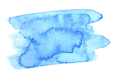 Blue watercolor brush strokes isolated over the white background