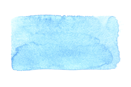 Blue uneven watercolor rectangle isolated over the white background Stock Photo