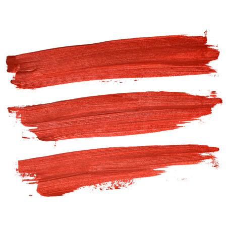 Set van rode penseelstreken geïsoleerd op de witte achtergrond Stockfoto