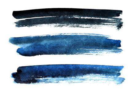 白い背景に分離された黒と青のブラシ ストローク