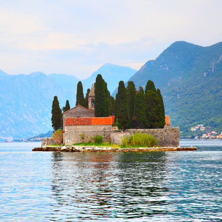 balkans: Picturesque St. George Island in the Kotor Bay, Montenegro Stock Photo