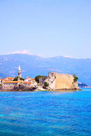 Old town of Budva on the coast of Adriatic Sea, Montenegro. Copyspace composition