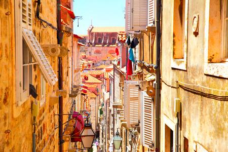 Picturesque old narrow street in Dubrovnik, Croatia