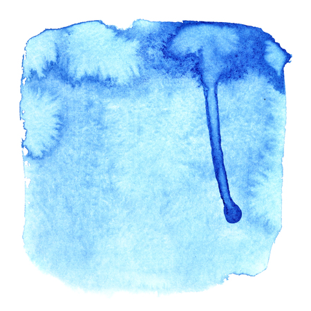 Blue watercolor square with stains - Abstract background Stock Photo