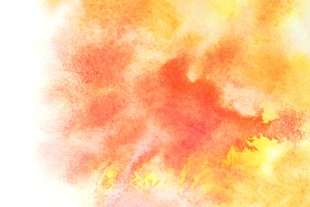pale yellow: Orange watercolor stains with isolated edge - abstract water color background