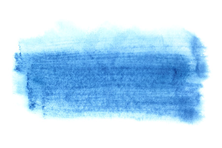 Cyan blue watercolor brush stroke isolated on the white background