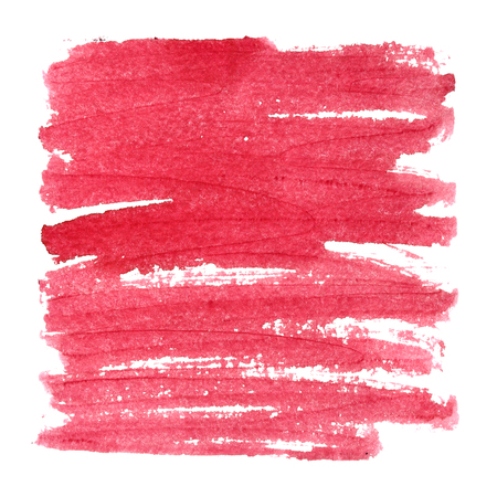 pen and marker: Red textured square with brush strokes. Abstract background, space for text. Raster illustration