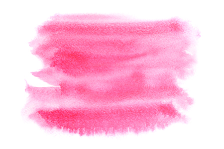 Pink watercolor stain isolated on white background -  space for text Stock Photo