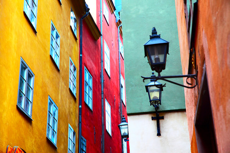 Colorful motley old houses in Gamla Stan district of Stockholm, Sweden. Shallow DOF!