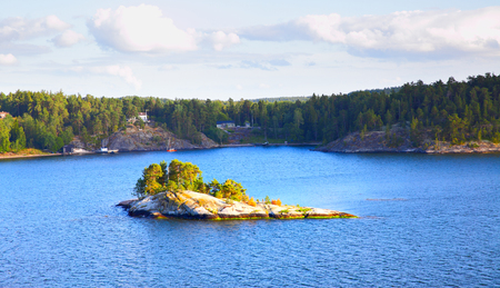 Water landscape - Panoramic view of the islands in the archipelago of Stockholm. Sweden.