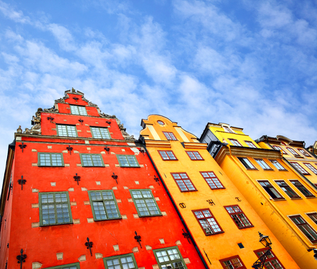Angle shot of buildings on Stortorget square in Stockholm, Sweden. Copyspace composition