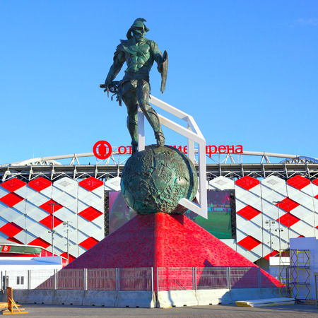 Moscow, Russia - May 03, 2017: Monument Gladiator by Alexander Rukovishnikov (2014) in front of Otkrytie Arena Stadium (Spartak Stadium) in Moscow