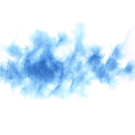 Cyan blue diffused watercolor stain - Abstract textured background