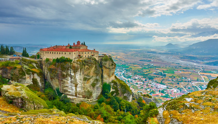 Picturesque view of St. Stephen monastery on the top of rock in Meteora, Greece Stock Photo