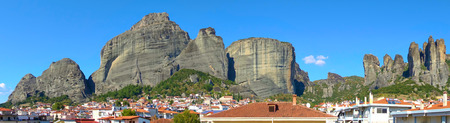 Panoramic view of The Meteora rocks and roofs of Kalambaka town in Greece - Landscape