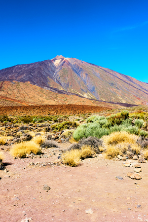 View of the Teide volcano (Pico del Teide) in highland of Tenerife island, The Canaries