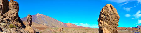 Panorama of The Roques de Garcia and the Teide volcano in Tenerife, The Canaries