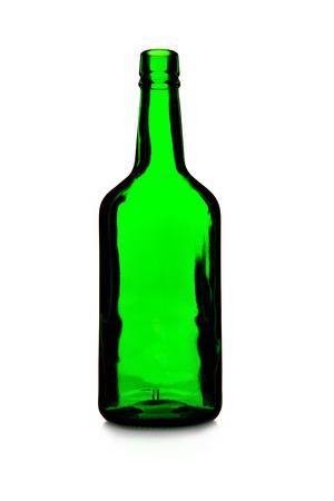 Green empty wine bottle isolated over white background Stock Photo