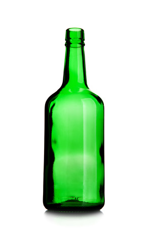 Empty wine bottle of green glass isolated over white background