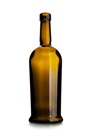 Empty wine bottle of dark glass isolated over the white background