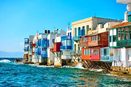 Picturesque houses of Little Venice in Mykonos Island, Cyclades, Greece Stock Photo
