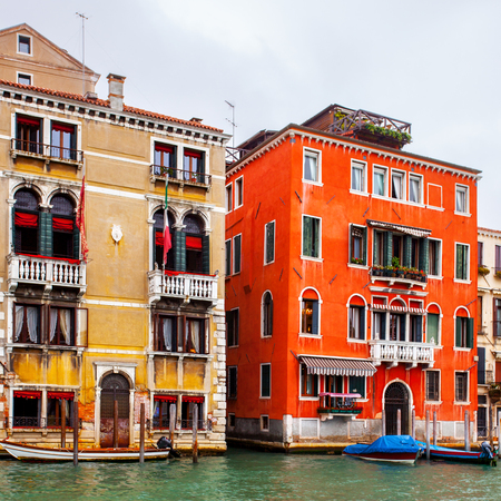 Houses in Grand Canal in Venice, Italy