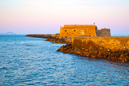 Venetian Fortress in Heraklion in the evening, Crete Island, Greece