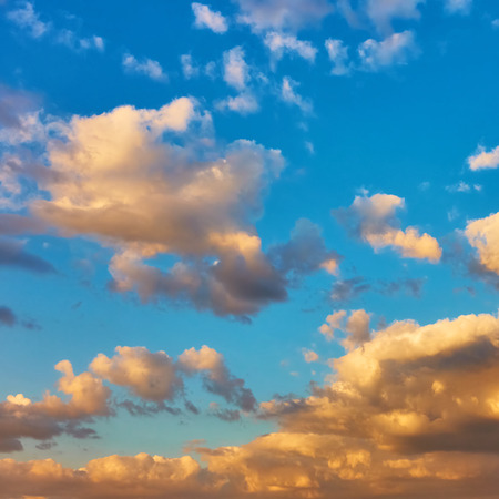 Picturesque sunset sky with clouds, may be used as background. Square cropping Stock Photo