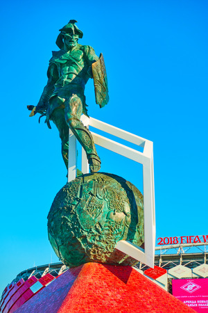 Moscow, Russia - May 26, 2018: Monument Gladiator by Alexander Rukovishnikov (2014) in front of Otkrytie Arena Stadium (Spartak Stadium) in Moscow
