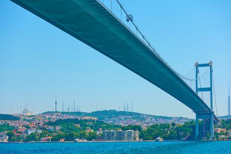 Perspective of Fatih Sultan Mehmet Bridge over Bosporus Strait in Istanbul, Turkey