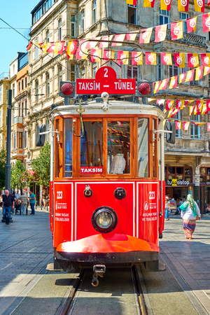Istanbul, Turkey - July 17, 2018: Historic vintage tram in Istiklal pedestrian street in Istanbul