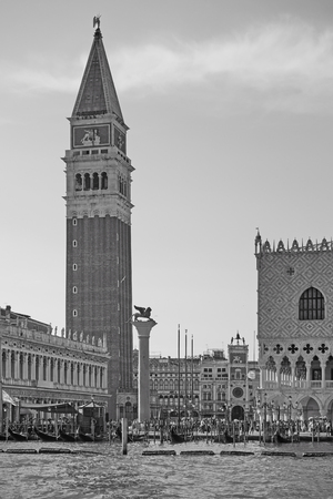 The Doges Palace and Campanile in Venice, Italy.  Black and white