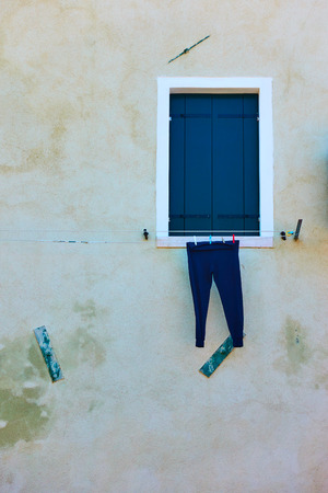 Drying pants outdoor on a rope in Venice, Italy