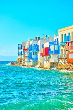 Aegean Sea and The Little Venice district in Mykonos on sunny day, Cyclades, Greece