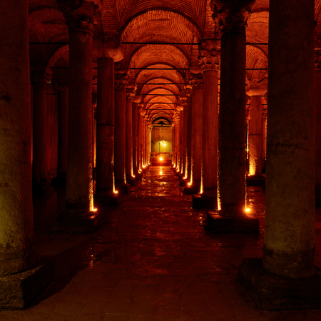 Columns of The Basilica Cistern (Yerebatan Sarnici) - ancient underground water reservoir in Istanbul, Turkey