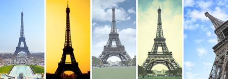 The Eiffel Tower in Paris -- Set of HD 16:9 screen wallpapers for smartphone