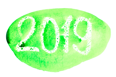 New year 2019 - Green hand drawn watercolor lettering