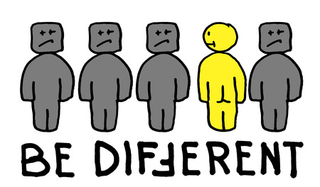 Be Differtent - motivational quote with funny hand drawn people. Print for t-shirt or poster